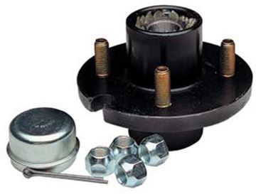 "Picture of 4 Hole Trailer Hub 1"" bearings, 1000 lbs. capacity"