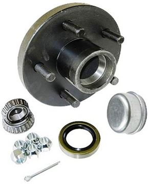 "Picture of 5 Hole Trailer Hub 1"" bearings, 700 lbs capacity, Short"