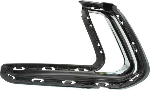Hyundai Front, Driver Side Bumper Trim-Chrome, Plastic, Replacement RH01610002