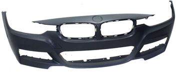 Picture of Replacement Bumper Cover, 3-Series 13-18 Front Bumper Cover, Prmd, W/ M Sport Line, W/O Hlw And Pdc Snsr Holes, Sdn/Wgn   Replacement REPBM010301P