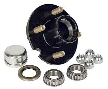 "4 Bolt Trailer Hub Kit for 1"" Spindle, 1000 lbs Capacity, Reliable 1-100-04-05"