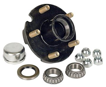 "5 Bolt Trailer Hub Kit for 1"" Spindle, 700 lbs Capacity, Short, 1-150A-04-02"