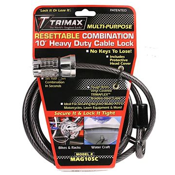 Resettable Combination Cable & Lock 10' x 8mm, Trimax MAG10SC