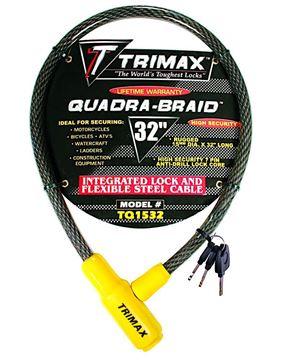 "Trimaflex Integrated Keyed Cable Lock 32"" x 15mm, Trimax TQ1532"