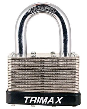"Dual Locking 50mm Steel Padlock, 1-1/8"" x 5/16"" Dia Shackle, Trimax TLM1125"
