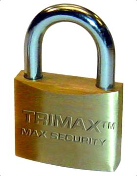 "Marine Grade 1.25"" Solid Brass Padlock, Hardened Shackle, Trimax TPB75"