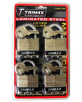 Dual Locking 40mm Steel Padlock 4 Pack, Keyed Alike, Trimax TLM4100