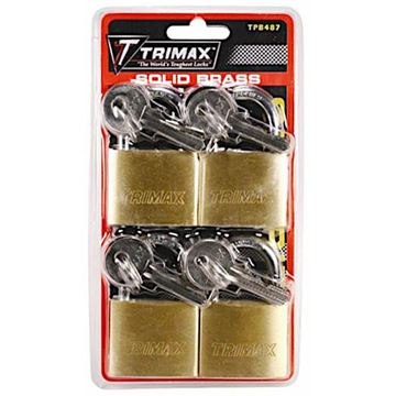 "Marine Grade 1.5"" Brass Padlock 4 Pack, Keyed Alike, Trimax TPB487"