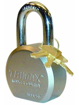"Hardened 64mm Solid Steel Padlock, 1.25"" x 11mm Shackle, Trimax TPL1251S"