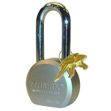 "Hardened 64mm Solid Steel Padlock, 2.25"" x 11mm Shackle, Trimax TPL2251L"