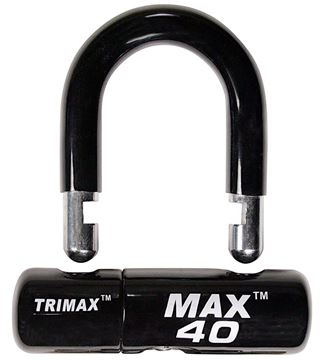 Multi-Purpose Disc U-Lock, Black Sleeve over Chrome, Trimax MAX40BK