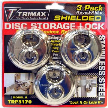 Stainless Steel 70mm Round Padlock Keyed Alike 3 Pack, Trimax TRP3170