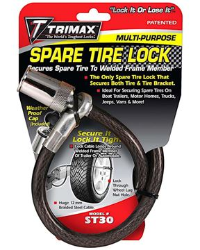 """Trimaflex Spare Tire Cable Lock, Round Key, 36"""" x 12mm, Trimax ST30"""