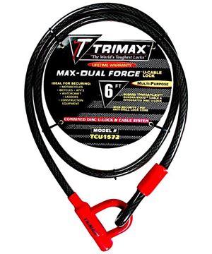 Trimaflex Dual Force U-Shackle Cable Lock 6' x 15mm, Trimax TCU1572