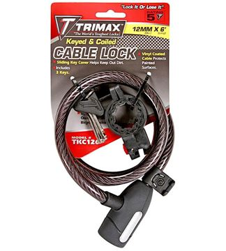 Trimaflex Coiled & Keyed Braided Cable Lock 6' x 12mm, Trimax TKC126