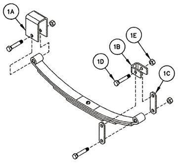 "Single Axle Hanger Kit Double Eye 1.75"" Spring, Reliable HK1-D100"