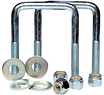 "Trailer Axle Square U-Bolt Kit, 2.1"" by 4"", Tie Down Eng 86204"